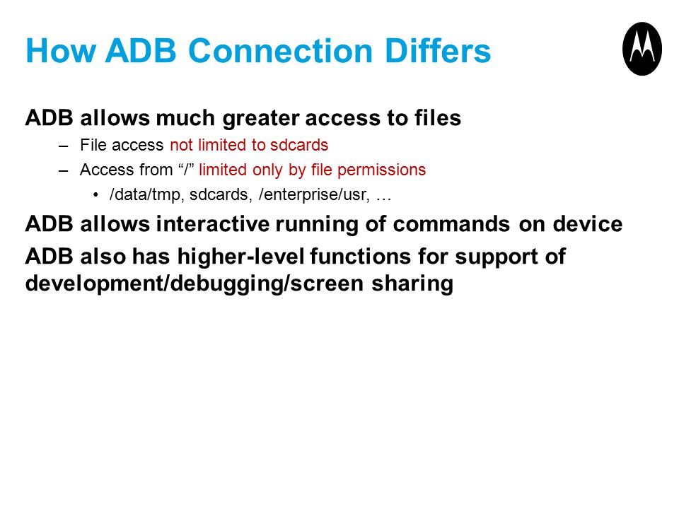 How ADB Connection Differs