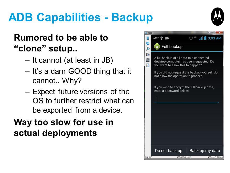ADB Capabilities - Backup