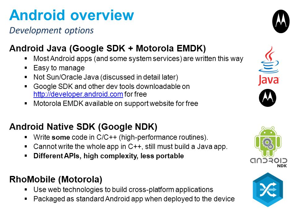 Android overview Development options