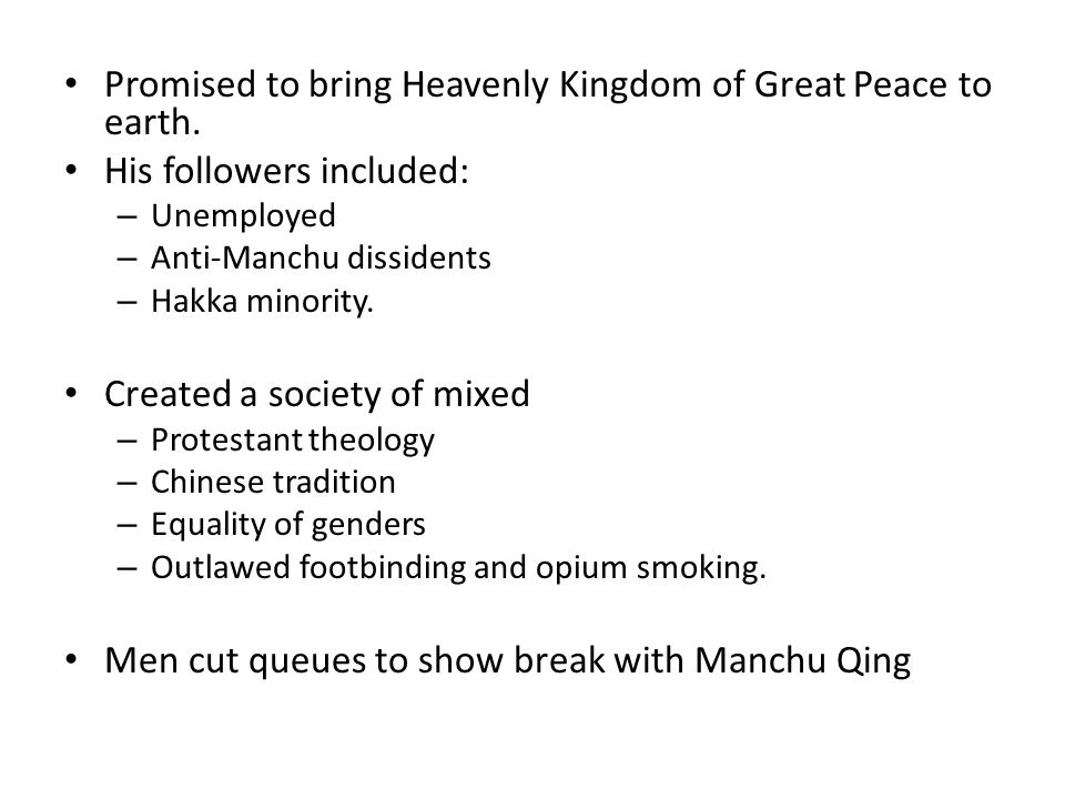 Promised to bring Heavenly Kingdom of Great Peace to earth.