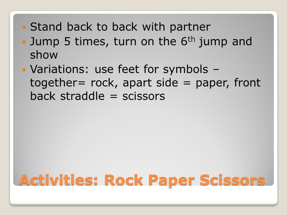 Activities: Rock Paper Scissors