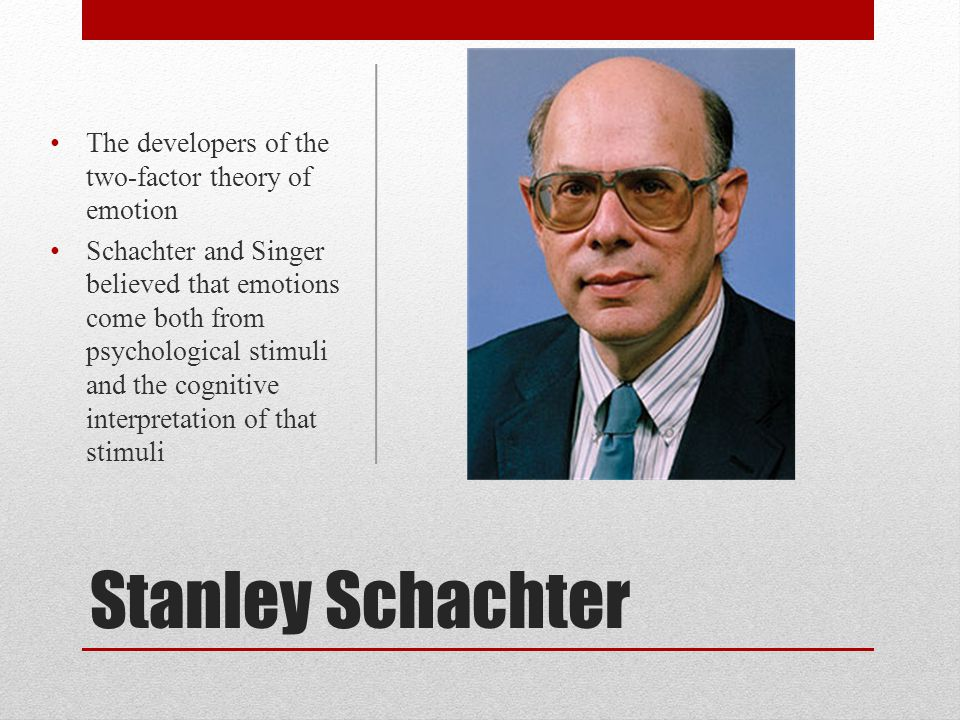 Stanley Schachter The developers of the two-factor theory of emotion