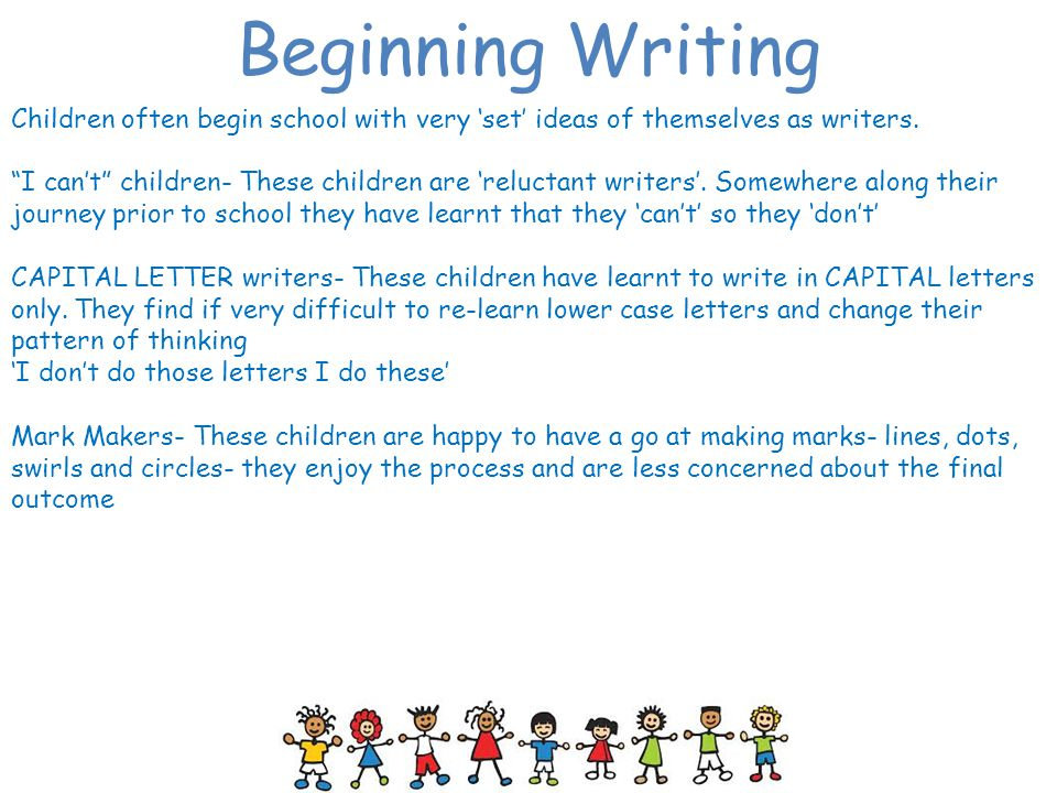 Beginning Writing Children often begin school with very 'set' ideas of themselves as writers.