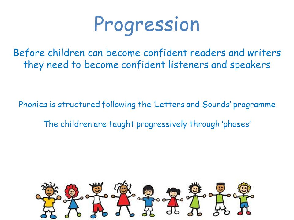Progression Before children can become confident readers and writers they need to become confident listeners and speakers.