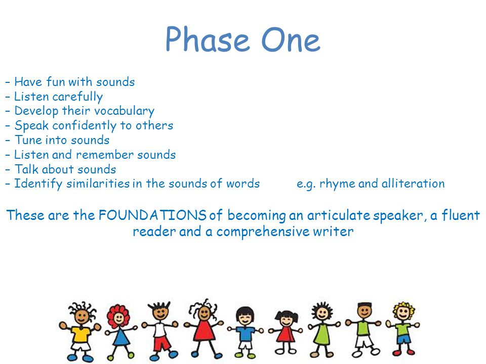 Phase One – Have fun with sounds. – Listen carefully. – Develop their vocabulary. – Speak confidently to others.