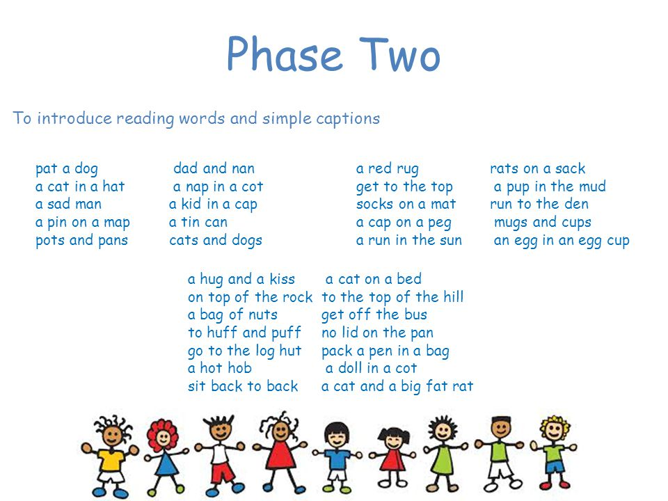 Phase Two To introduce reading words and simple captions