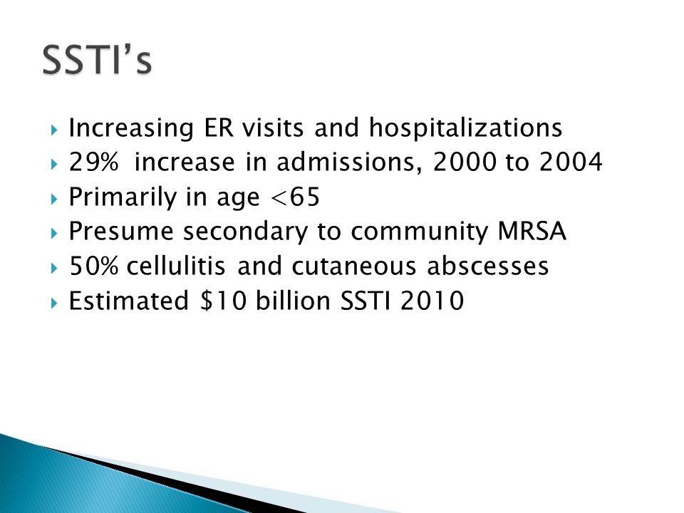 SSTI's Increasing ER visits and hospitalizations