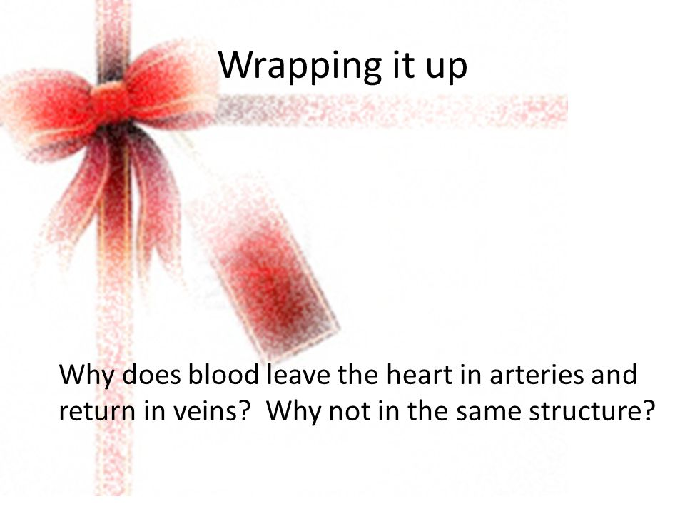 Wrapping it up Why does blood leave the heart in arteries and return in veins.