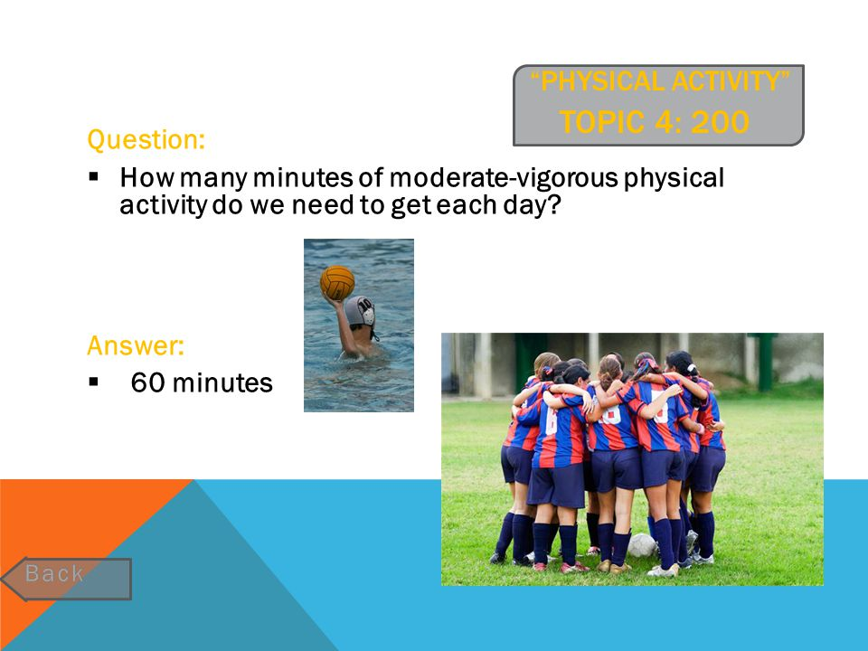 Physical activity Topic 4: 200