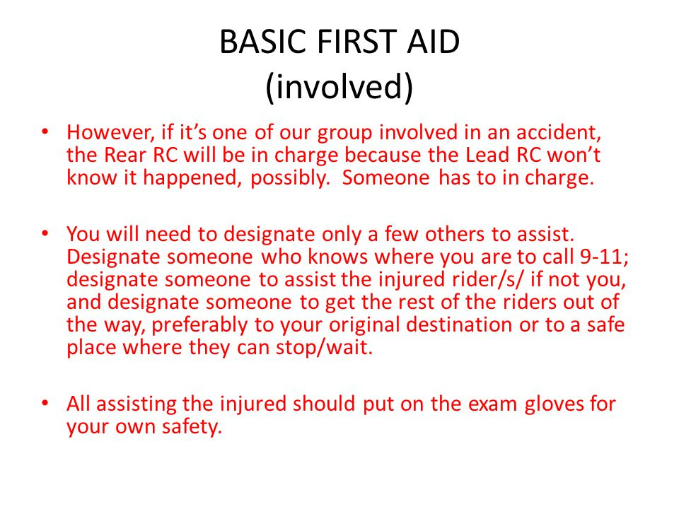 BASIC FIRST AID (involved)