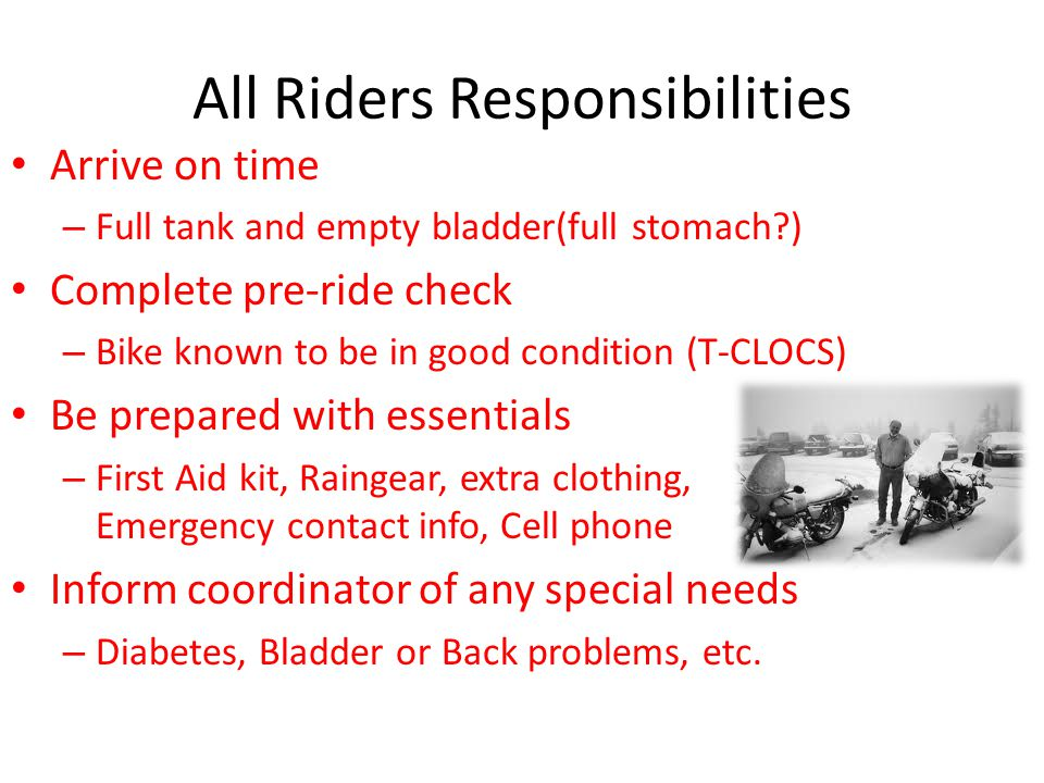 All Riders Responsibilities