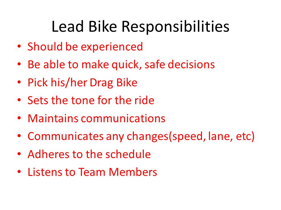 Lead Bike Responsibilities