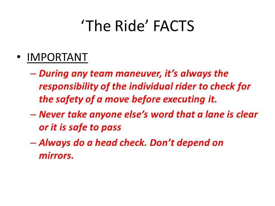 'The Ride' FACTS IMPORTANT