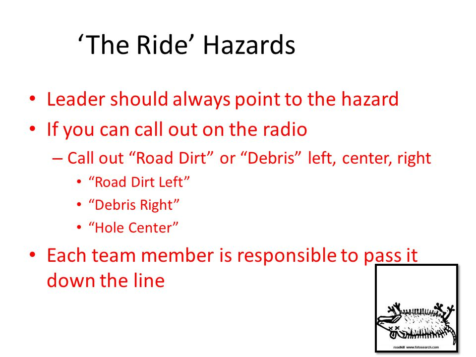 'The Ride' Hazards Leader should always point to the hazard