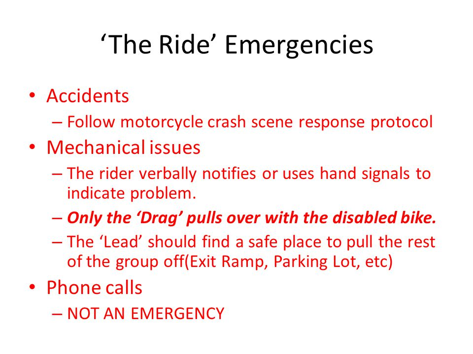 'The Ride' Emergencies