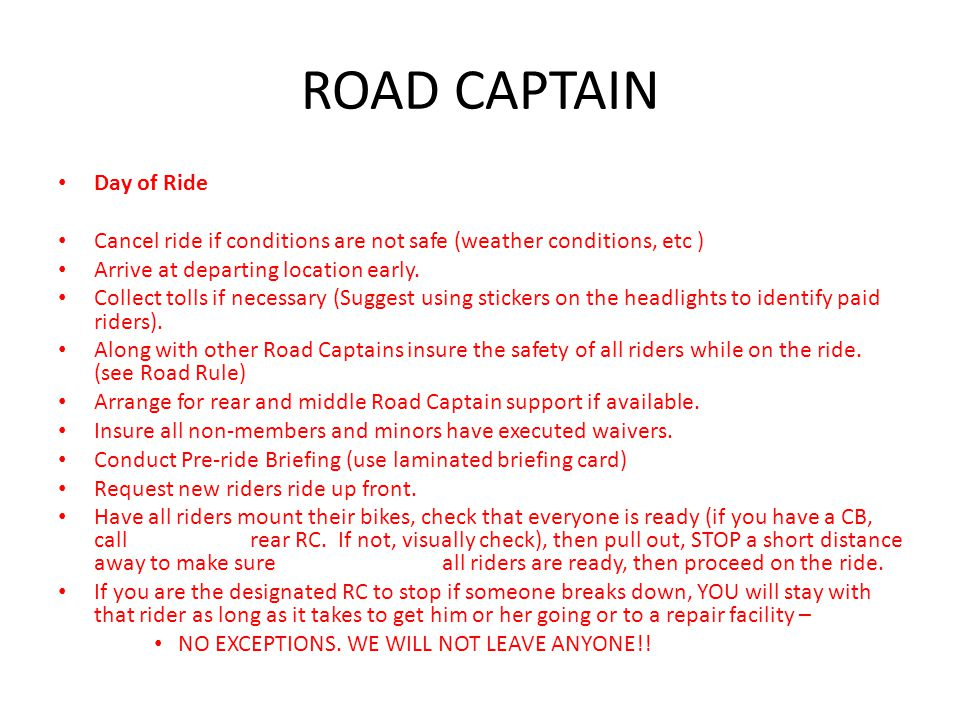 ROAD CAPTAIN Day of Ride