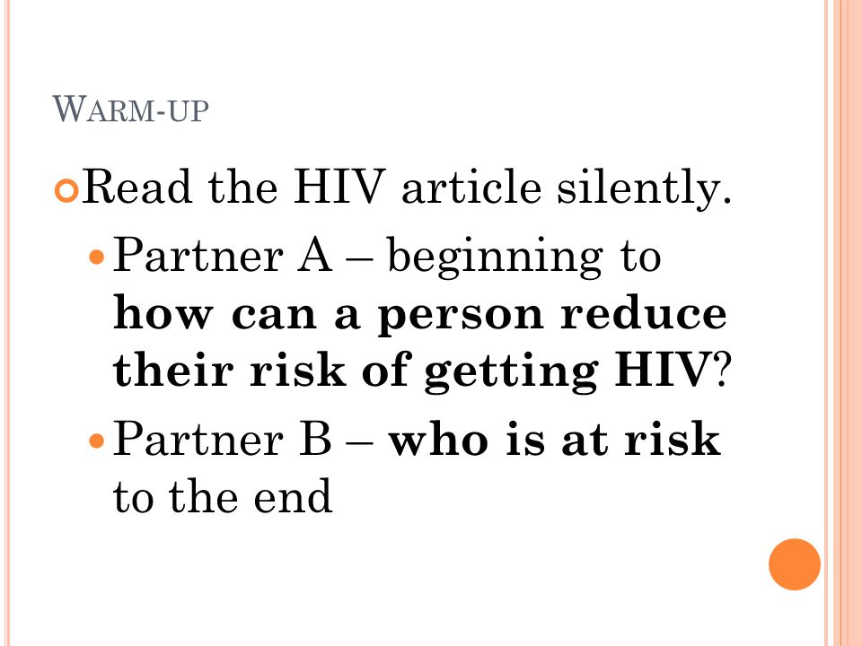Read the HIV article silently.