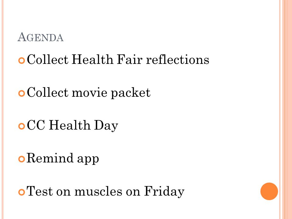 Collect Health Fair reflections Collect movie packet CC Health Day