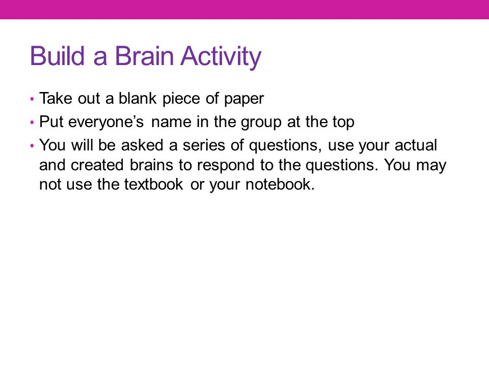 Build a Brain Activity Take out a blank piece of paper