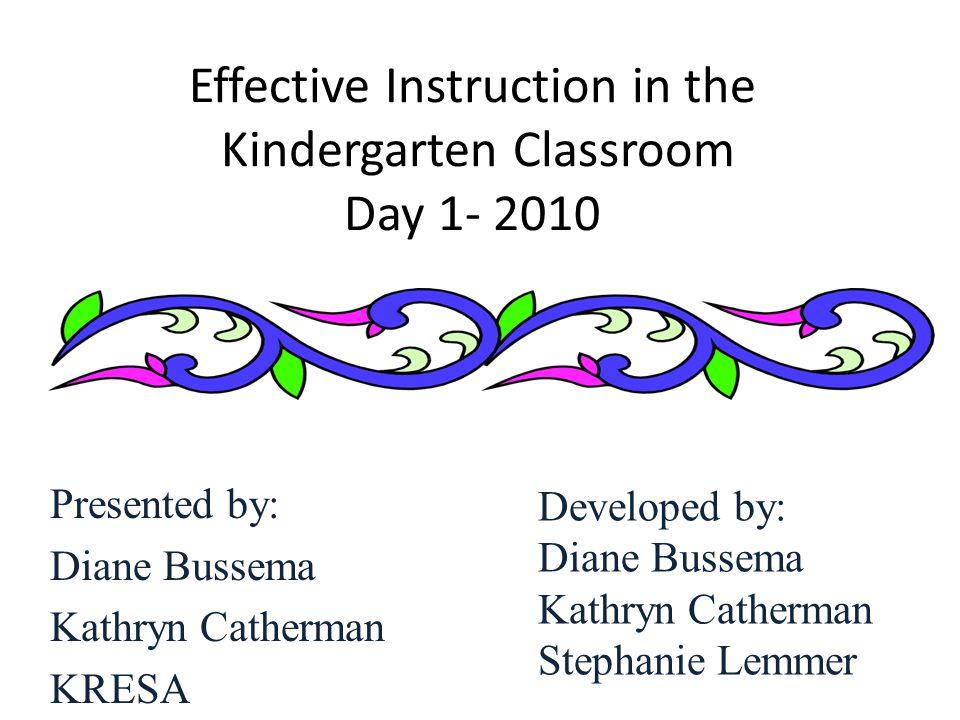 Effective Instruction in the Kindergarten Classroom Day 1- 2010