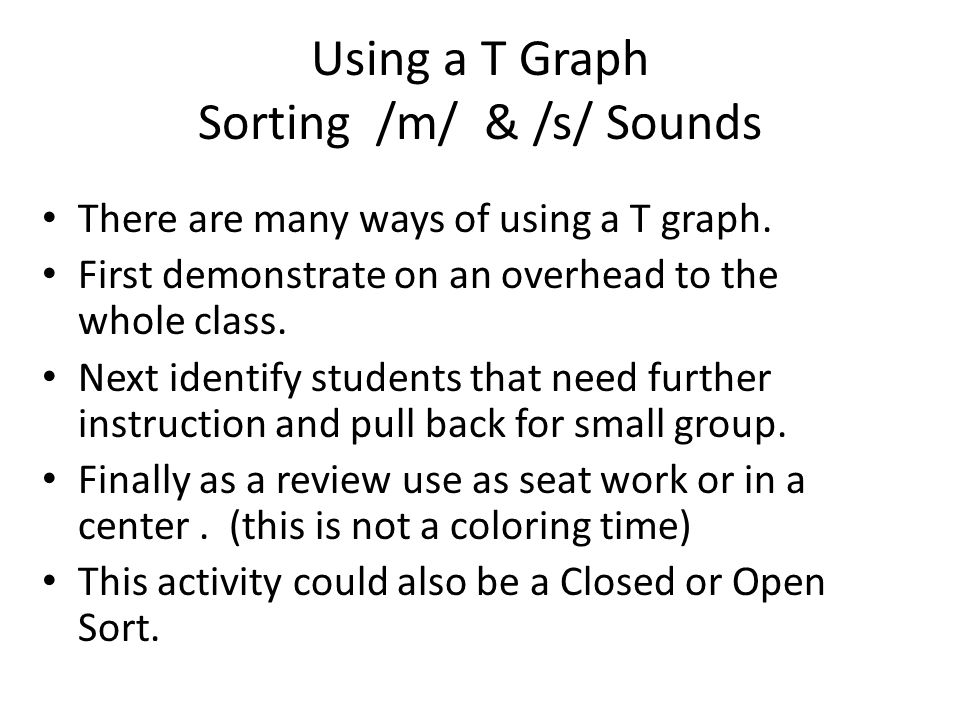 Using a T Graph Sorting /m/ & /s/ Sounds