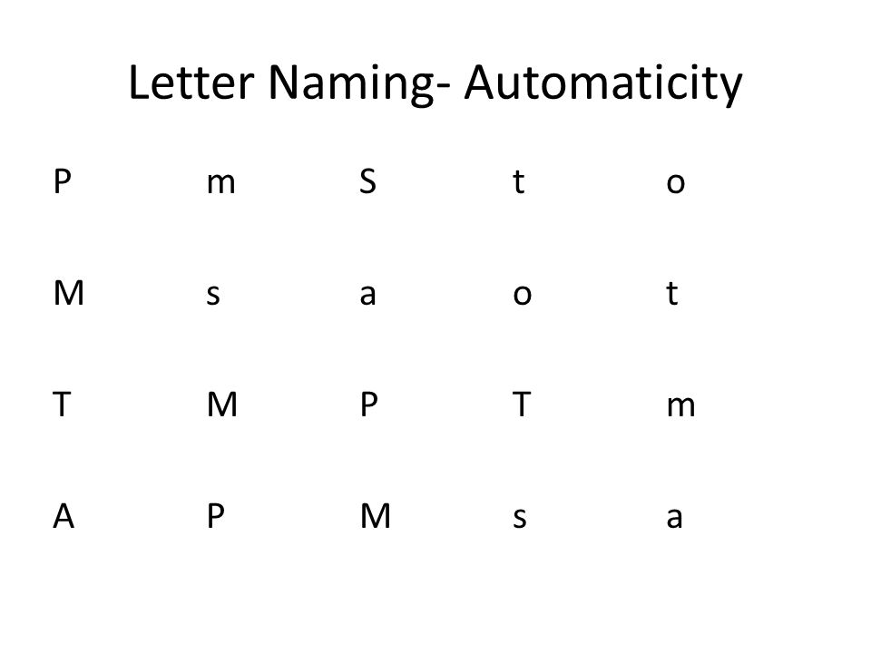 Letter Naming- Automaticity