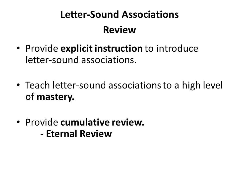 Letter-Sound Associations Review
