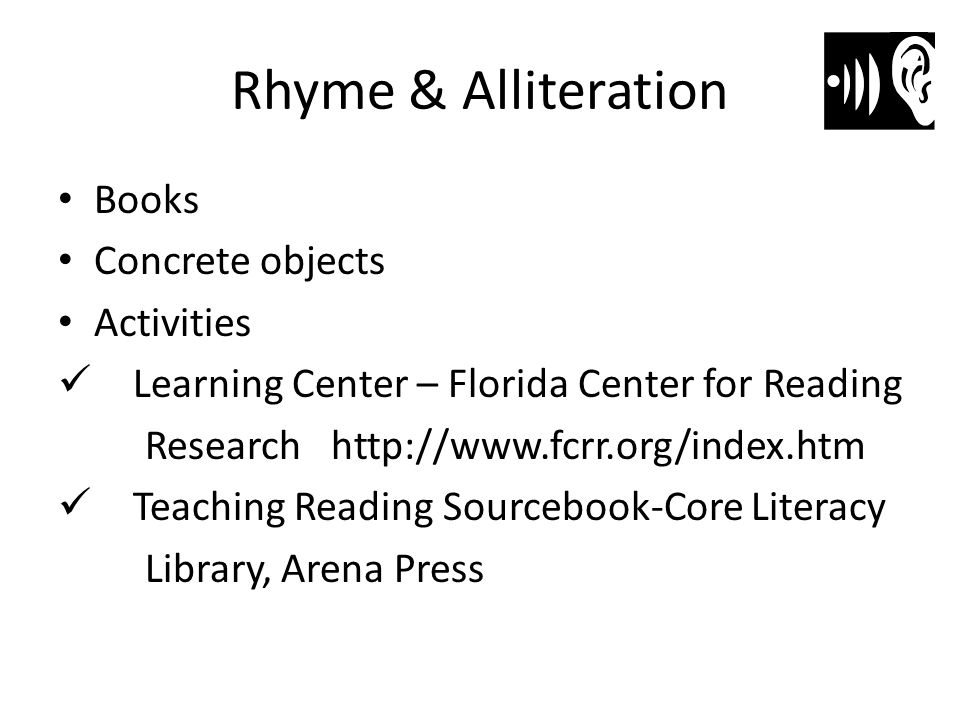 Rhyme & Alliteration Books Concrete objects Activities