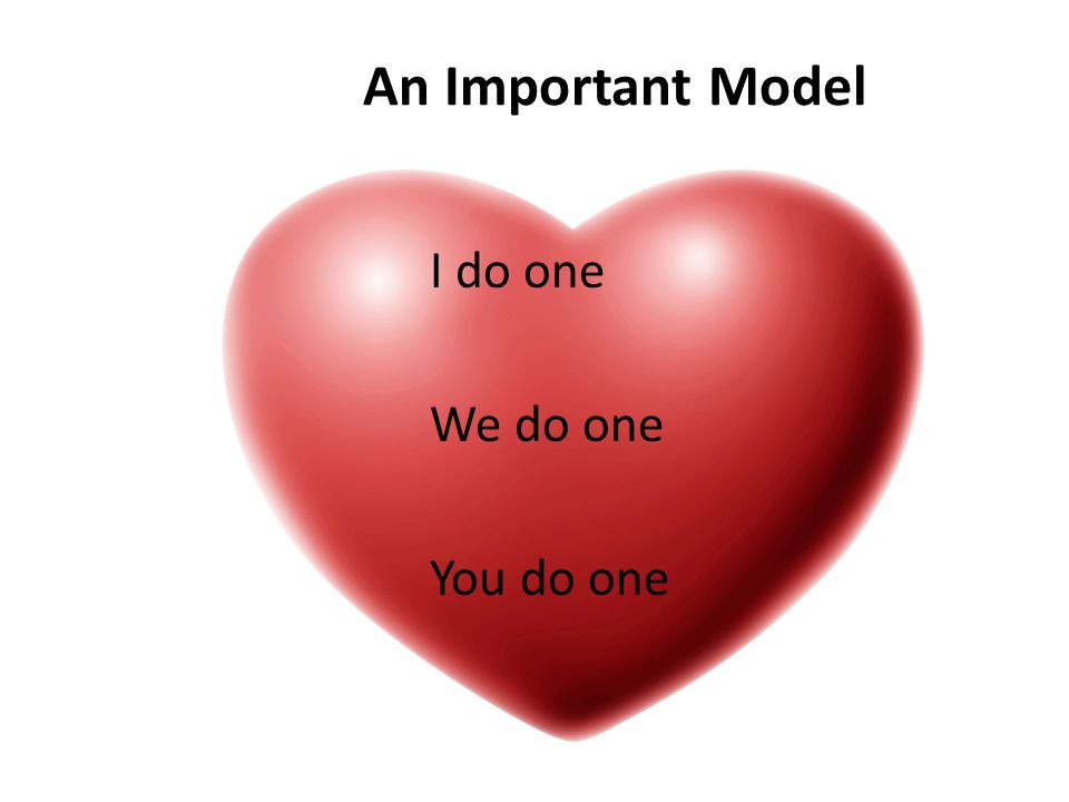 An Important Model I do one We do one You do one