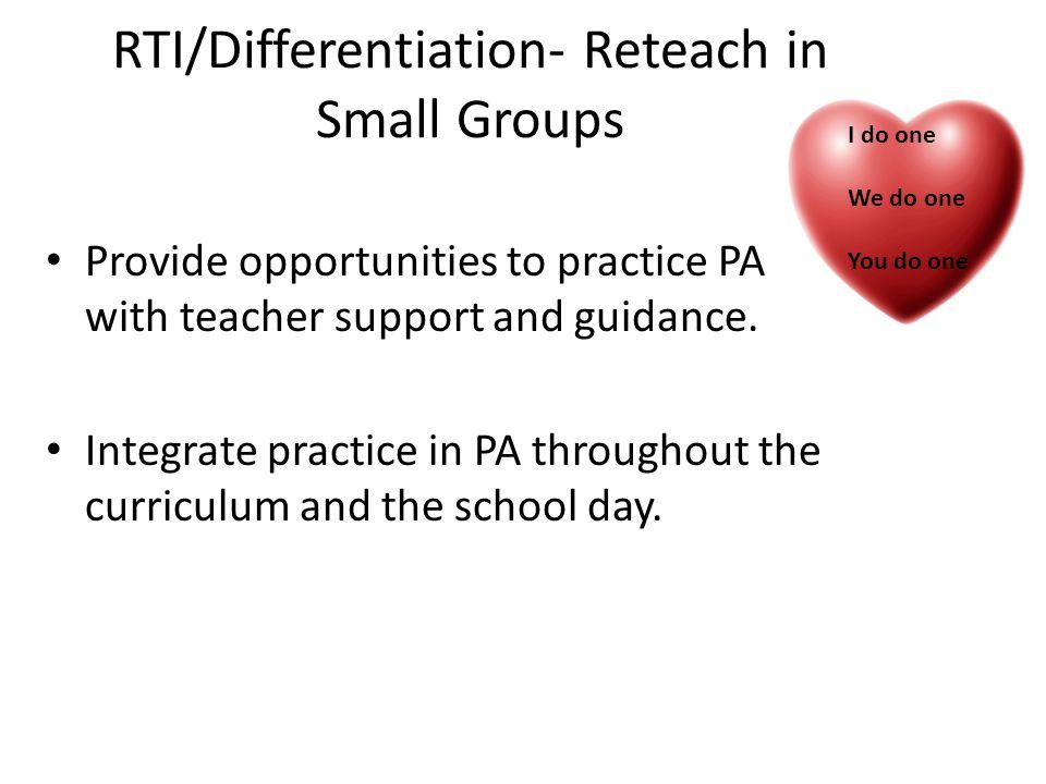 RTI/Differentiation- Reteach in Small Groups