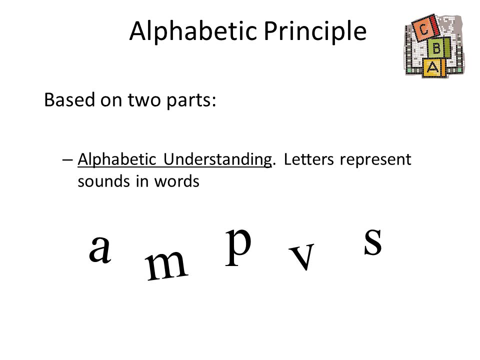 p s a v m Alphabetic Principle Based on two parts: