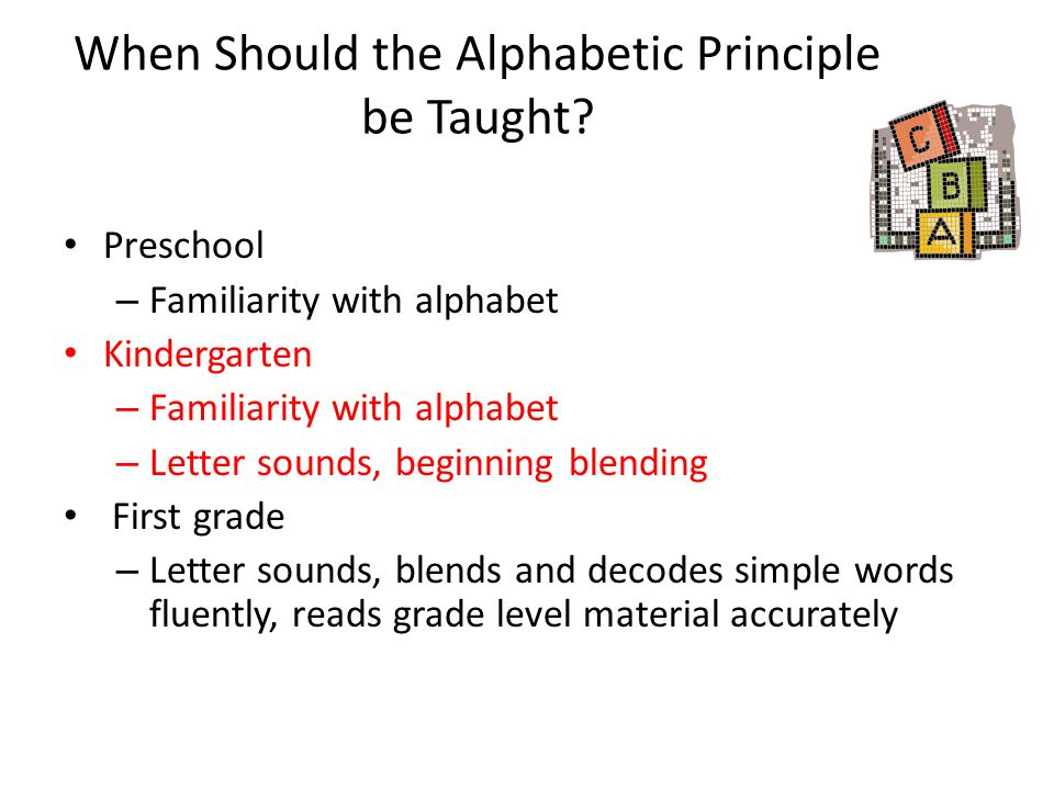 When Should the Alphabetic Principle be Taught