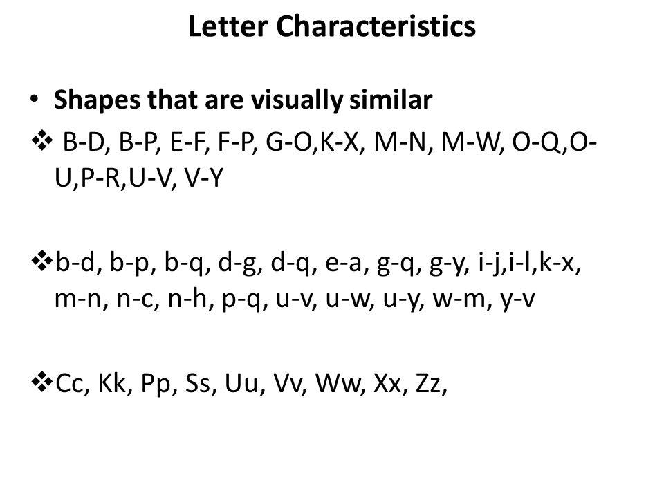 Letter Characteristics