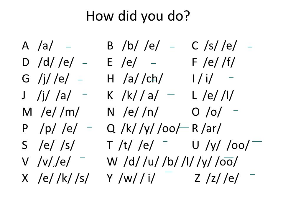 How did you do A /a/ B /b/ /e/ C /s/ /e/ D /d/, /e/ E /e/ F /e/ /f/