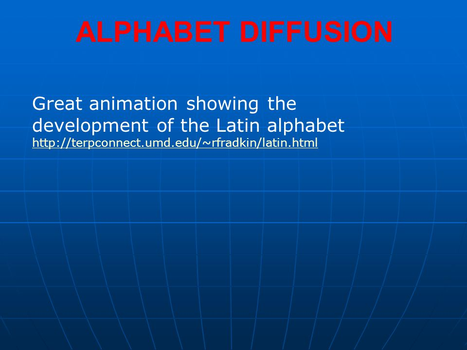 ALPHABET DIFFUSION Great animation showing the development of the Latin alphabet http://terpconnect.umd.edu/~rfradkin/latin.html.