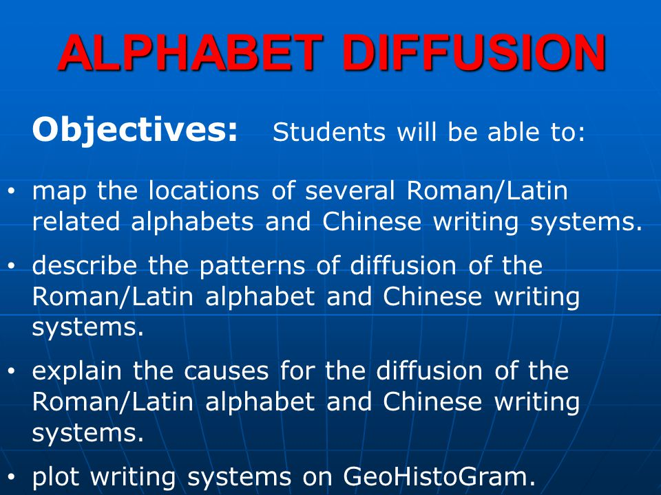 ALPHABET DIFFUSION Objectives: Students will be able to:
