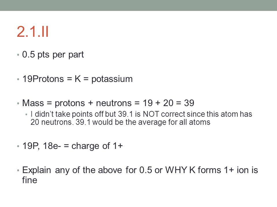 2.1.II 0.5 pts per part 19Protons = K = potassium