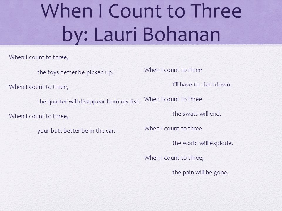 When I Count to Three by: Lauri Bohanan