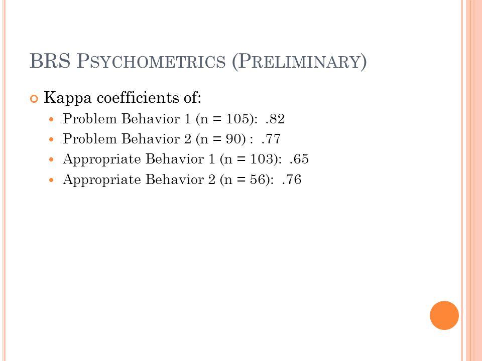 BRS Psychometrics (Preliminary)