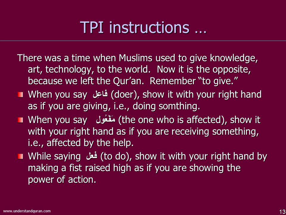 TPI instructions …