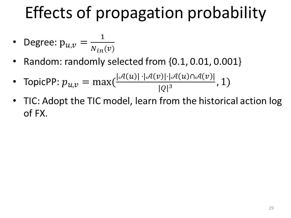 Effects of propagation probability