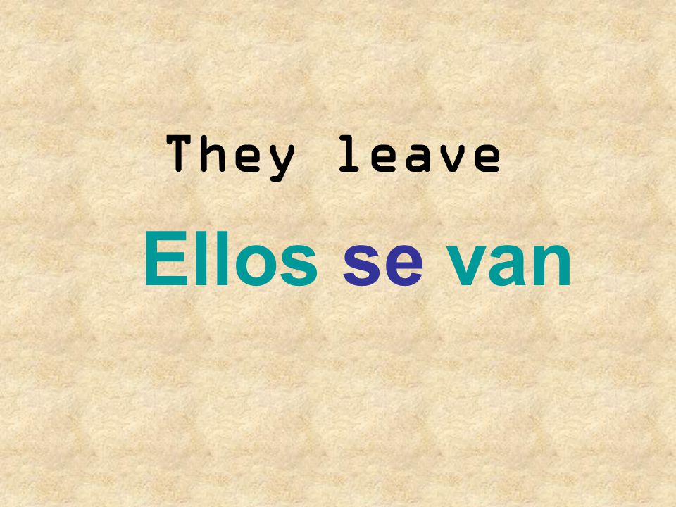 They leave Ellos se van