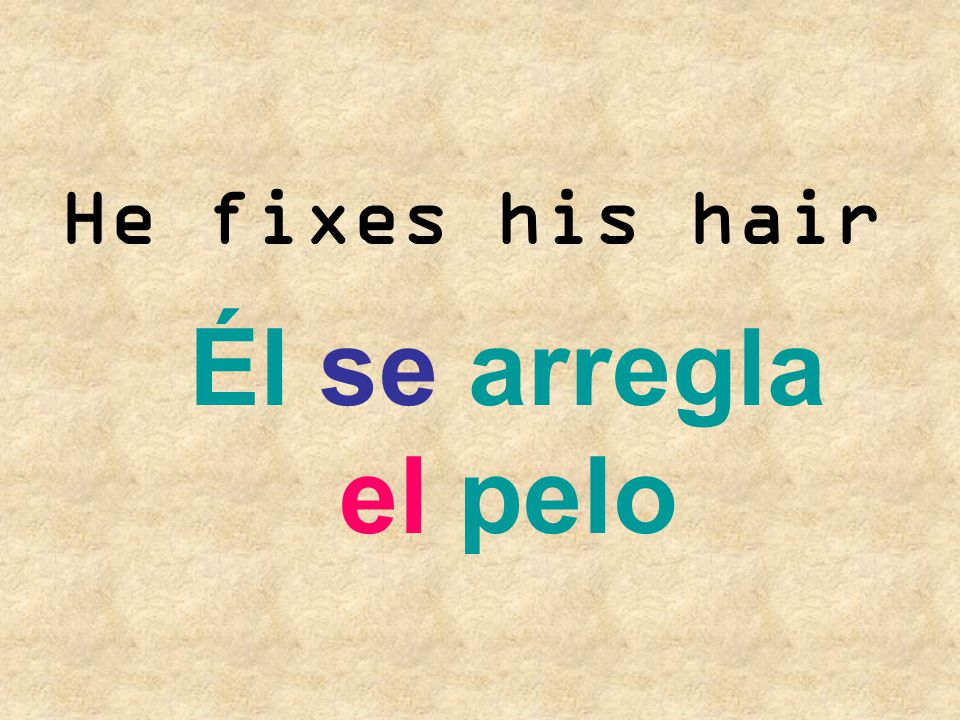 He fixes his hair Él se arregla el pelo