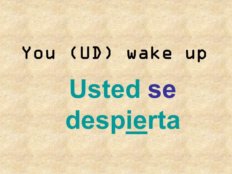 You (UD) wake up Usted se despierta