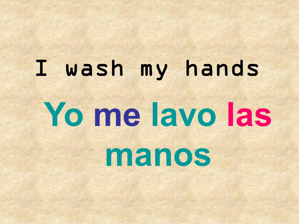 I wash my hands Yo me lavo las manos