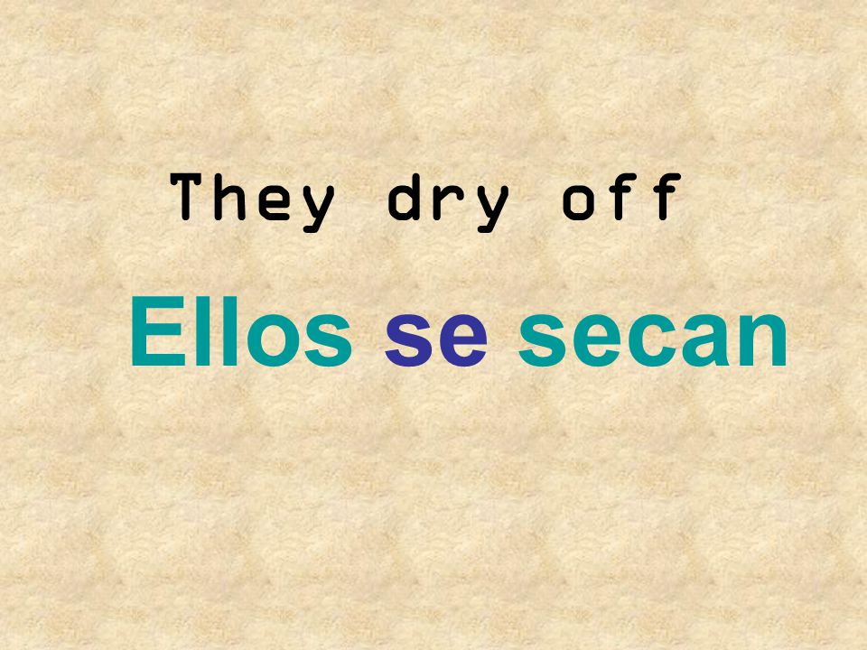They dry off Ellos se secan