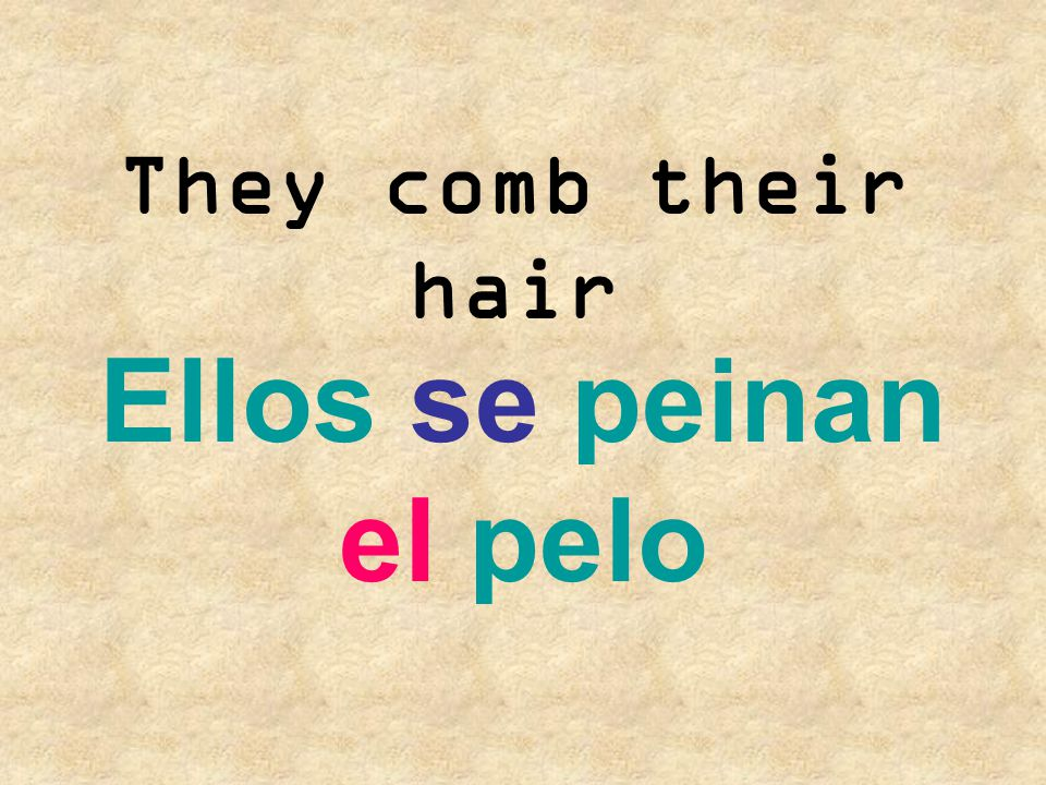 They comb their hair Ellos se peinan el pelo