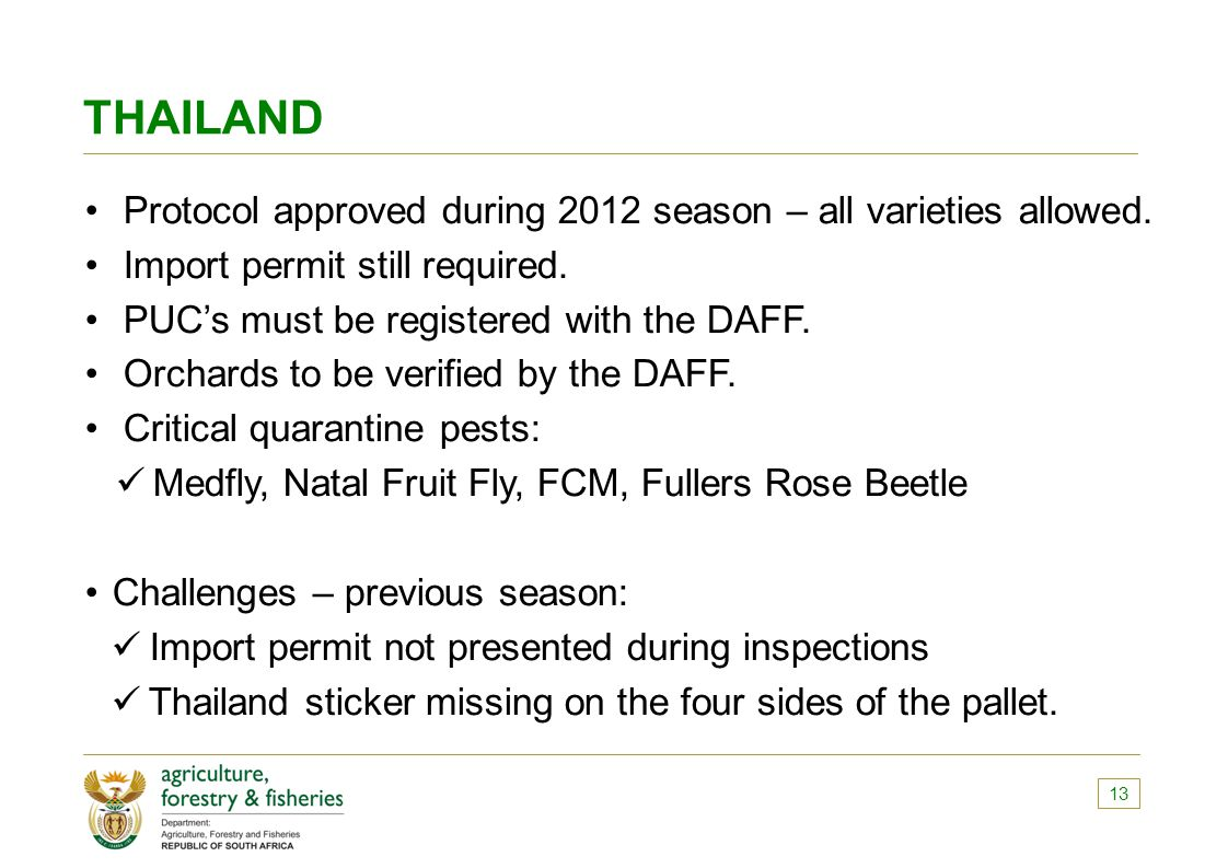 THAILAND Protocol approved during 2012 season – all varieties allowed.