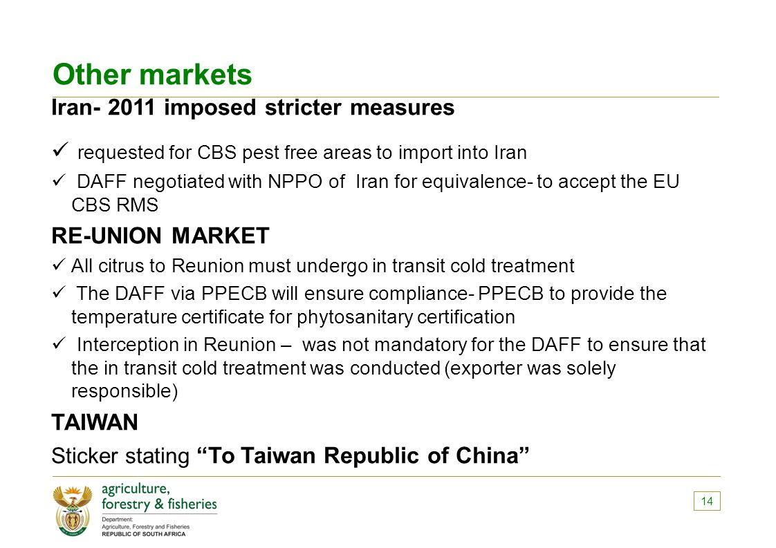 Other markets Iran- 2011 imposed stricter measures