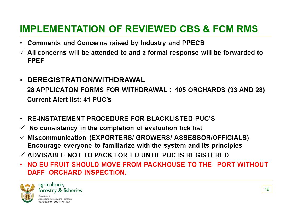 IMPLEMENTATION OF REVIEWED CBS & FCM RMS